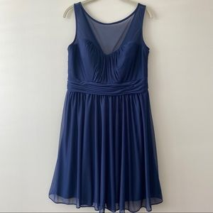 David's Bridal Navy Sweetheart Dress with Mesh 14